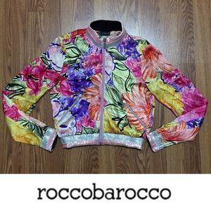 roccobarocco •100% Silk Floral Bomber Jacket Italy